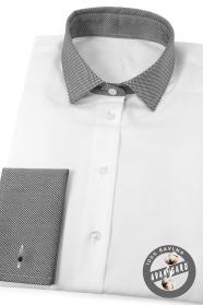 Weißes Damenhemd mit grauem Kragen und französischer Manschette