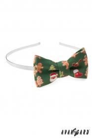 Grüne Stirnband mit Weihnachtsmotiv