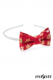 Rotes Stirnband mit Weihnachtsmotiv
