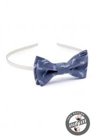 Mädchen Stirnband mit Fliege  Blau mit Muster