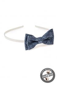 Mädchen Stirnband mit Fliege  Blau geblümt