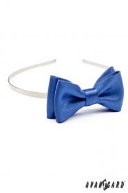 Mädchen Stirnband mit Fliege - Blau mit Glanz