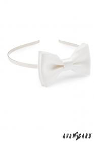 Mädchen Stirnband mit Fliege - Weiß