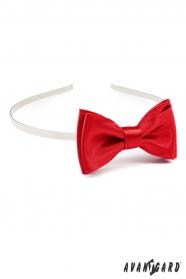 Rotes Stirnband mit Fliege