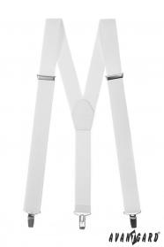 Weiße Hosenträger für Männer mit weißem Leder und Metallclips