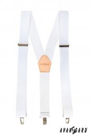 Weiße Hosenträger mit beige Leder und Metallclips