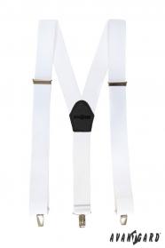 Weiße Hosenträger mit schwarzem Leder und Metallclips