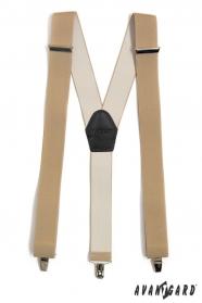 Hosenträger Y-Form 3-Clip-Halterung, Beige