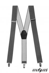 Graue Hosenträger mit Punkten, schwarzem Leder und Metallclips