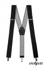 Schwarze Hosenträger mit Clips - 35 mm