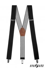 Schwarze Hosenträger mit braunem Leder und Metallclips