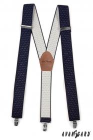 Dunkelblaue Hosenträger mit weißen Punkten, Metallclips und braunem Leder