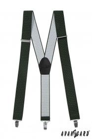 Grüne Hosenträger mit weißen Punkten, schwarzem Leder und Metallclips