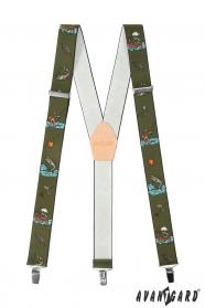 Angel-Hosenträger mit beigem Leder und Metallclips