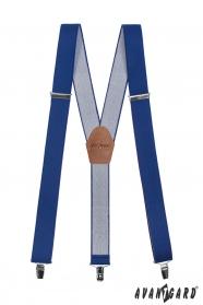 Herren Hosenträger in Y-Form mit Ledermitte - 35 mm - Königsblau