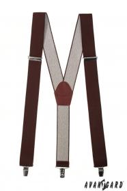 Braune Y-Hosenträger 3-Clip-Halterung