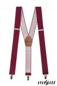 Herren Hosenträger Y-Form - 35 mm - bordeaux, dunkelbraunes Leder