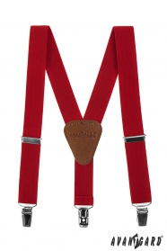 Rote Junge Hosenträger mit braunem Leder und Clips