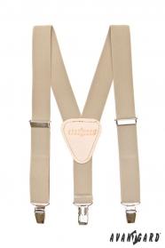 Jungen Hosenträger Y-Form 3-Clip-Halterung, beigefarbe