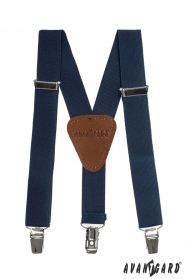 Dunkelblaue Hosenträger für Jungen mit Leder und Clips