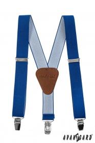 Blaue Hosenträger für Kinder mit braunem Leder und Metallclips