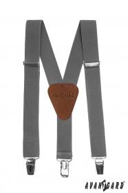 Graugraue Jungen Hosenträger mit braunem Leder und Metallclips