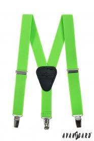Grüne, neonfarbene Hosenträger für Jungen mit Leder und Clips