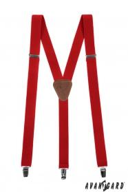 Rote einfarbige Herren Hosenträger mit Clips