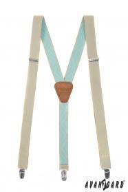 Hosenträger mit hellbrauner Leder in Beige-Minze