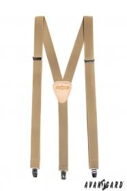 Herren Hosenträger mit Ledermitte und Clips - 25 mm - beiges Leder