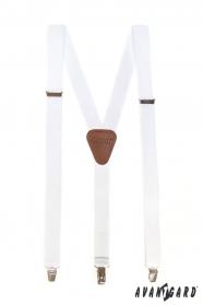 Weiße Herren Hosenträger mit braunem Leder und Metallclips