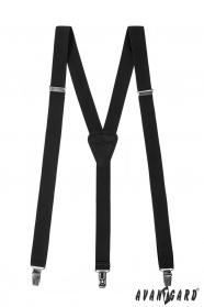Schwarze Hosenträger mit schwarzem Leder an Clips