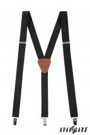 Schwarze Herren Y-Form Hosenträger mit braunem Leder und Metallclips