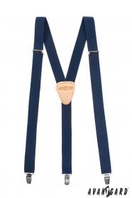 Hosenträger Y-Form mit Ledermitte - 25 mm - dunkelblau, Leder beige
