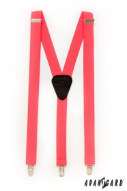 Herren Hosenträger Y-Form - 25 mm - Koralle Neon, schwarzes Leder