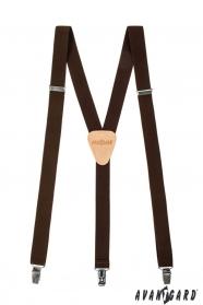 Braune Hosenträger mit beigem Leder 3-Clip-Halterung