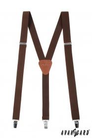 Braune Hosenträger Y-Form - 25 mm - dunkelbraunes Leder