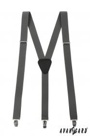 Graphitgraue Hosenträger mit schwarzem Leder und Metallclips