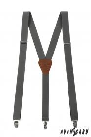Graphitgraue Herren Hosenträger mit braunem Leder und Metallclips
