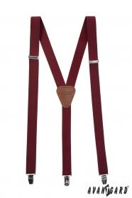 Bordeaux Hosenträger Y - 25 mm - dunkelbraunes Leder