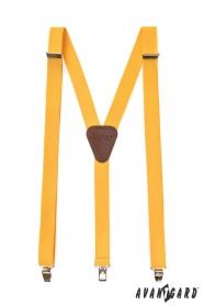 Gelbe Hosenträger mit braunem Leder und Metallclips