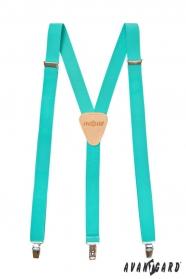 Hosenträger in Y-Form Ledermitte mit Clips - Minze