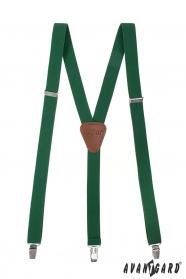 Hosenträger in Y-Form mit Clips Smaragdgrün dunkelbraunes Leder