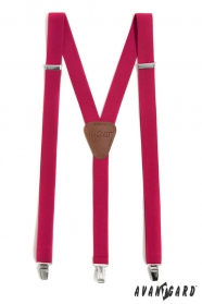 Hosenträger Y-Form mit Clips - fuchsia, dunkebraunes Leder