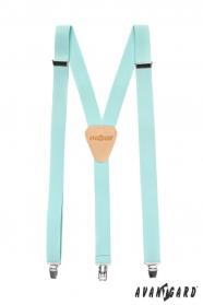 Hosenträger in Y-Form mit Ledermitte mit Clips - azurblau, beiges Leder