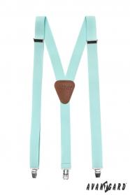 Minzfarbe Hosenträger mit Metallclips, dunkelbraunes Leder