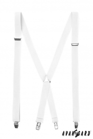 Weiße Hosenträger mit Metallclips