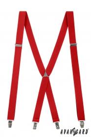 Red Herren-Hosenträger mit Metallclips