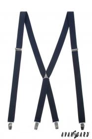 Hosenträger X-Form 4-Clip-Halterung, Dunkelblau
