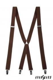 Braune Hosenträger X-Form 4-Clip-Halterung